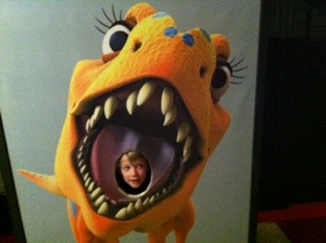 Yey, it's me in a dinosaur mouth