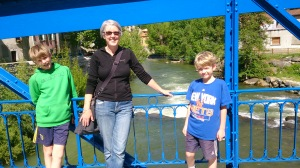 Oliver, Jen, Tomos on the Pont Suzanne in Quillan