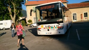The morning bus to Perpignan ready to leave from the railway station at Quillan