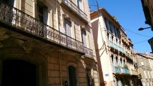Wrought iron balconies common in Perpignan