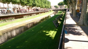 Canal and grass verges on the canal at Perpignan